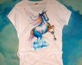 SALE Hand Painted Clothing Wild Horses Tshirt Beach Dress in white cotton  // Boho Beach  Colorful Original Wearable Art / Large