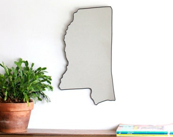 Mississippi Mirror / Wall Mirror State Outline Silhouette Shape Wall Art Decor MS