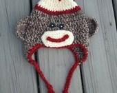 Sock Monkey Hat-  Baby Sock Monkey Hat- Infant Sock Monkey Hat- Baby Sock Monkey Hat