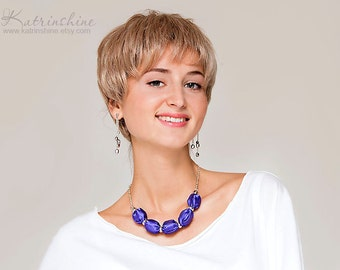 Purple fabric necklace fashion statement textile necklace
