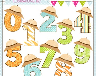 Safari Numbers Cute Digital Clipart for Commercial or Personal Use, Safari Clipart, Safari Hat Numbers