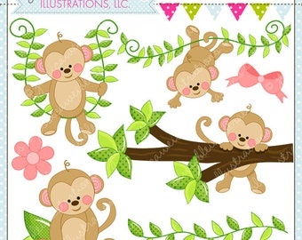 Monkey Business - Commercial Use OK Clipart - Monkey Vine Clipart - Monkey Graphics - Cute Monkey