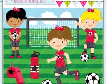Soccer Girls RED - Cute Digital Clipart for Commercial and Personal Use, Soccer Clipart, Soccer Graphics
