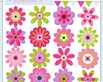 Flower Power Cute Digital Clipart - Commercial Use OK - Flower Clipart, Flower Graphics, Pink Flowers