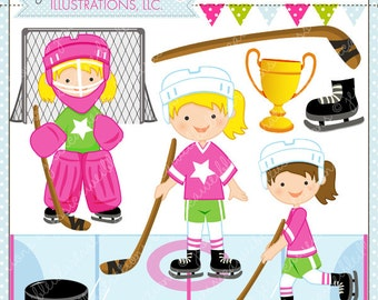 Hockey Girls Cute Digital Clipart - Commercial Use OK- Hockey Clipart, Hockey Graphics, Girls Hockey