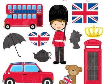 British Trip Cute Digital Clipart - Commercial Use OK - London Clipart, UK Graphics, London England Britian