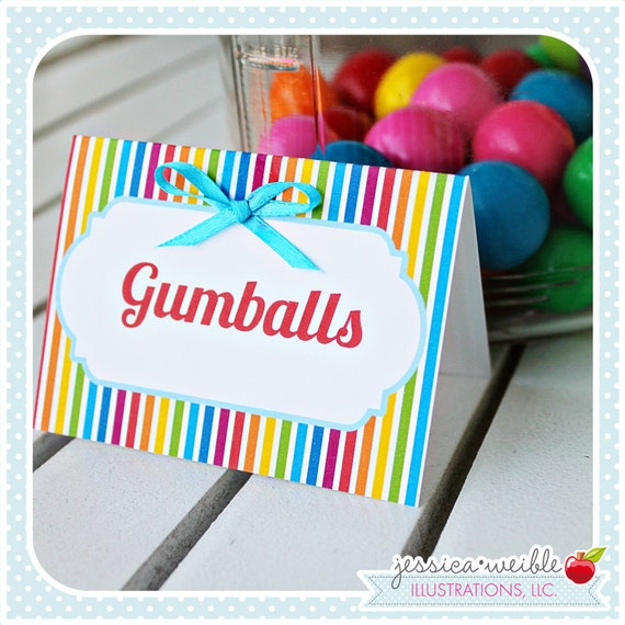 Rainbow Pretty Theme - Printable Tent Cards - Label Tents - Printable Party Favors - Rainbow Party Printables