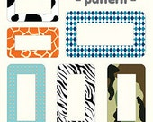 Designers Name Tag Label Stickers 12 EA - Pattern (6.7 x 6.7in)