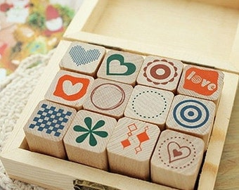 12 Set - Various Heart & Circle Stamps Box (4 x 3.2in)