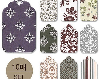 10 Various Pattern Gift Tags (1.3 x 2.2in)