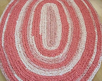 Crocheted Oval Repurposed Rug