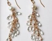 Wedding Jewelry, Long Bridal Earrings, Gemstone Earrings