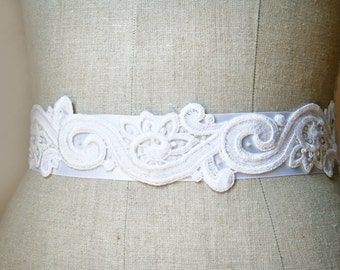 Lace Bridal Sash, Wedding Belt, Wedding Accessories, Sample Sale