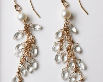 Wedding Jewelry, Long Bridal Earrings, Crystal Earrings, Bridal Jewelry, Gemstone Earrings