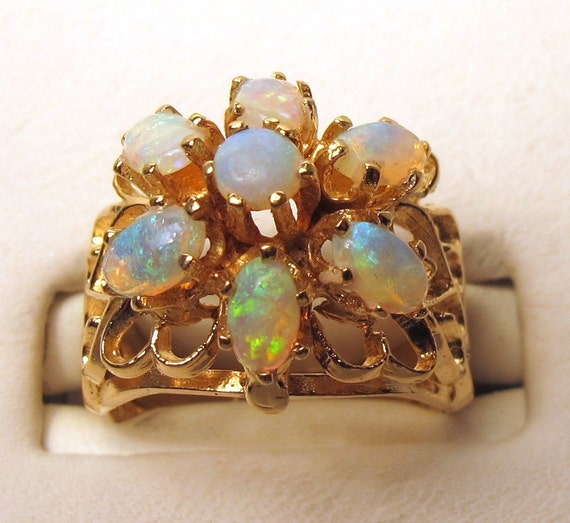 vintage opal ring 10k gold by yesteryearglam on etsy