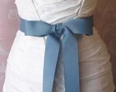 Williamsburg Blue Grosgrain Ribbon, 1.5 Inch Wide Denim Blue Bridal Sash, Dusty Blue Grosgrain Wedding Belt, Slate Blue, 4 Yards