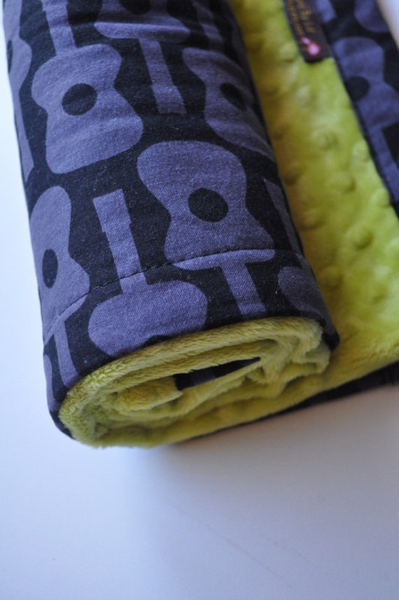 Snuggle Size Minky Baby Blanket, Black Grey Guitars and Lime Green Minky