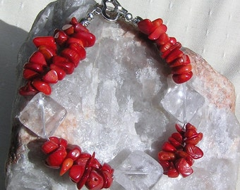 "Crystal Gemstone Bracelet, Clear Quartz & Natural Red Coral ""Crimson Ice"", Red Bracelet, Chakra Bracelet, Shell Bracelet, Quartz Bracelet"