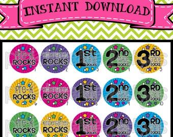 "School Rocks - Pre K, Kindergarten, 1st 2nd 3rd Grade Rocks - INSTANT DOWNLOAD 1"" Bottle Cap Images 4x6 - 214"