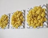 "THREE Flower Wall Decor - Mellow Yellow Dahlia On Gray And White Chevron 12 x 12 "" Canvas Set - Wall Art - Nursery Decor - Wall Hangings"