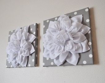 "TWO Wall Flowers -White Dahlia on Gray and White Polka Dot 12 x12"" Canvas Wall Art- Flower Wall Art"