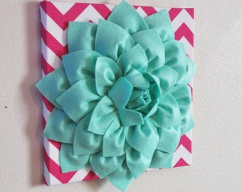 Flower Wall Decor- Large Mint Green Flower Wall Hanging -Hot Pink Chevron-