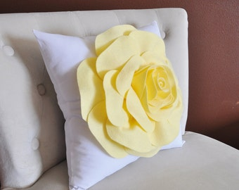 Throw Pillow Light Yellow Rose on White Pillow 14x14