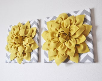 "TWO Wall Flowers -Mellow Yellow Dahlia on Gray and White Chevron 12 x12"" Canvas Wall Art- 3D Felt Flower"