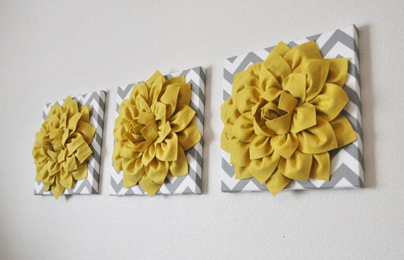 "THREE Flower Wall Decor - Mellow Yellow Dahlia On Gray And White Chevron 12 x 12 "" Canvas Set - Wall Art - Nursery Decor - Wall Hangings"