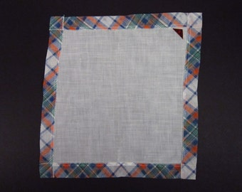 Vintage Handkerchief Linen/Plaid (vh25)