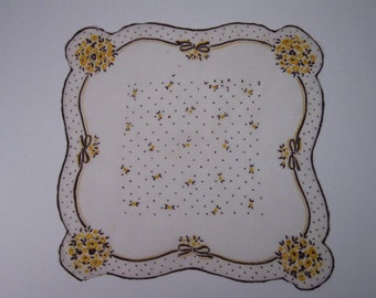 Vintage White Handkerchief with/Yellow/Brown Decoration (vh55)
