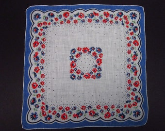 Vintage Handkerchief  Blue/Red floral (vh147)