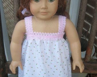 American Girl nightgown, pink rosebud pajamas for 18 inch doll