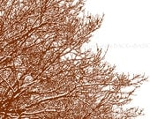 Abstract Tree with Snow, Art Print, Snow Storm, Brown, White, Blizzard, winter decor, country living, interior design, Home Decor