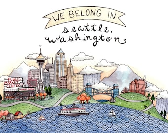 We Belong in Seattle Greeting Card