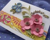Quilled Flower Greeting Card Blue and Pink