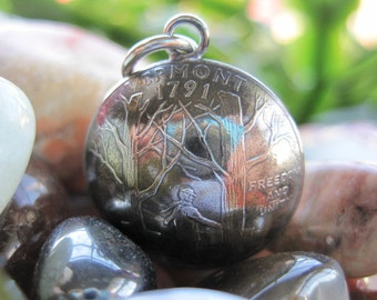 Domed Antiqued Vermont State Quarter Pendant with Sterling Silver Bail MADE TO ORDER.