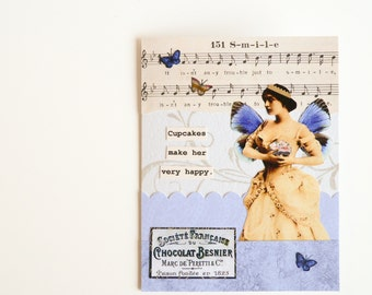 Handmade Greeting Card -  Cupcakes make her very happy - blue, vintage music, birthday, celebration, friendship