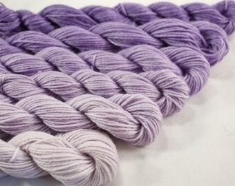 Mini Skein Yarn Fingering or DK Gradient Ombre  - Lilac Gradient - 600 yards