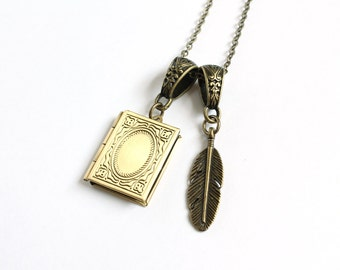 Diary Locket and Quill Necklace