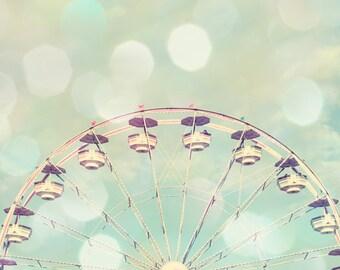Ferris wheel art, baby girl nursery, ferri wheel print, carnival nursery, toddler girl room, Ferris wheel photo, mint nursery wall art