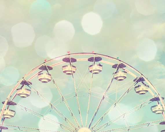 Ferris wheel art, baby girl nursery, ferri wheel print, carnival nursery, toddler girl room, Ferris wheel photo, mint nursery wall art