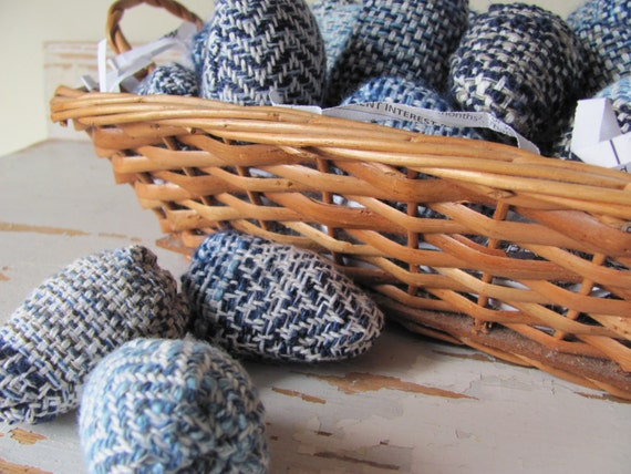 Rustic Nest Eggs, Navy Blue and White French Country Decor Cottage Chic Decor, Farmhouse Decor Kitchen Home Decor Fabric Soft Sculpture Eggs
