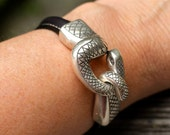 New Snake Bracelet ,  Leather Bracelet , Leather Bangle , Unisex Jewelry , Snake Head Bracelet , Silver Bracelet ,  Amy Fine Design