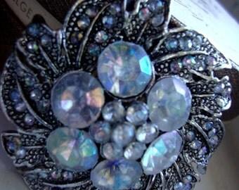 Victorian Style Brooch Art Nouveau Iridescent Rhinestones Clear Rhinestones Jewelry ST