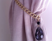 Decorative curtain tieback with golden chains and vintage crystals - drapery holder - tie back curtain