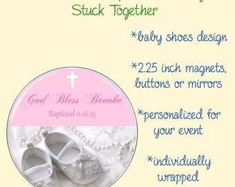 Baby Baptism Favors - 2.25 Inch Magnets, Buttons or Mirrors - Set of 10 Favors