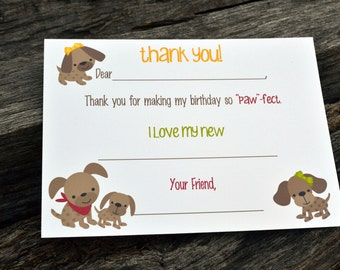 Kids Fill In the Blank Thank You Notes / Kids Thank You Notes / Childrens Thank You Note Cards / Fill In The Blank Puppy Party Design