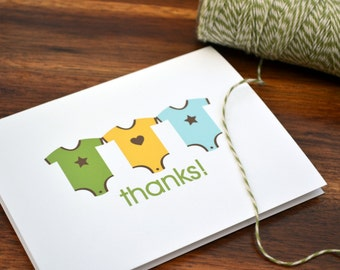 Baby Thank You Notes / Baby Shower Thank You Notes / Baby Thank You Cards / Boys Personalized Notes Onesie Design