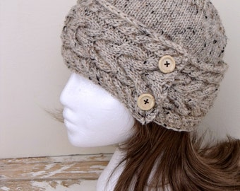 Women's Cable Knit Hat in Oatmeal Tweed with Wood Buttons